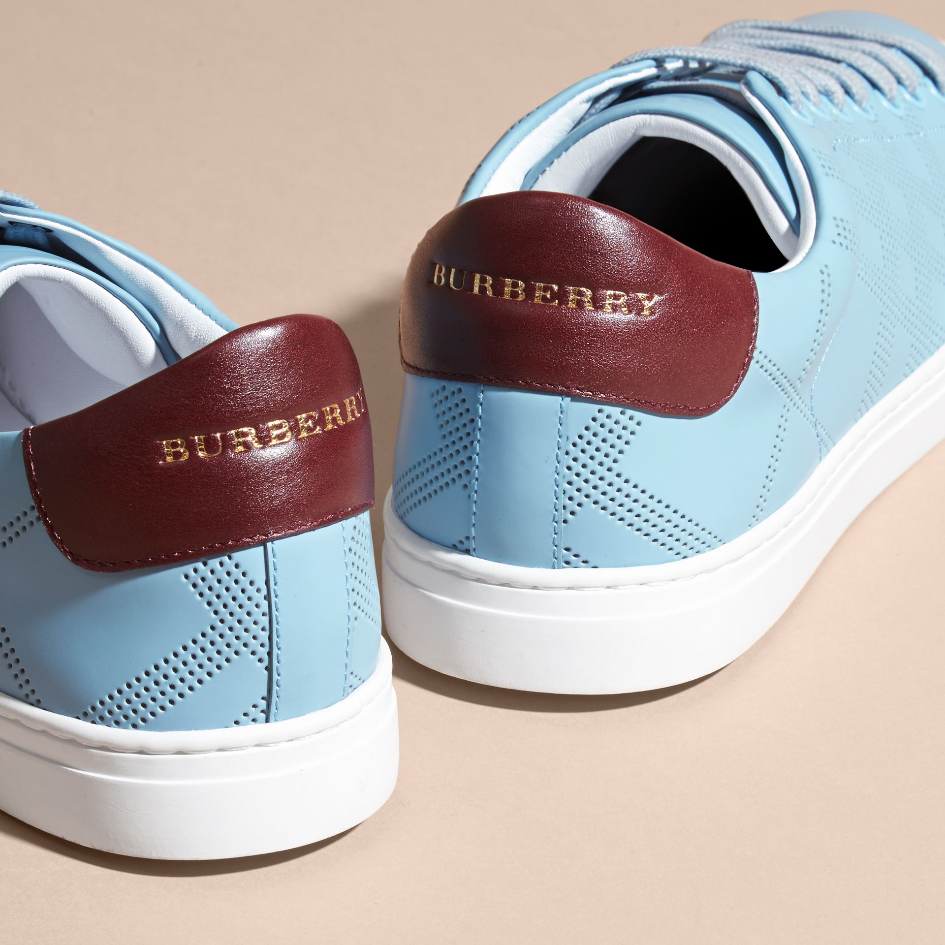 Powder blue/deep claret melange Perforated Check Leather Trainers Powder Blue/deep Claret Melange - gallery image 4
