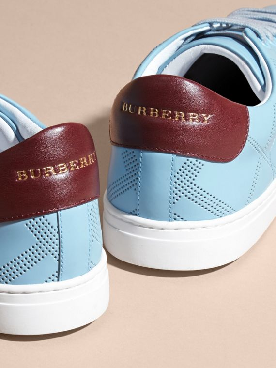 Powder blue/deep claret melange Perforated Check Leather Trainers Powder Blue/deep Claret Melange - cell image 3
