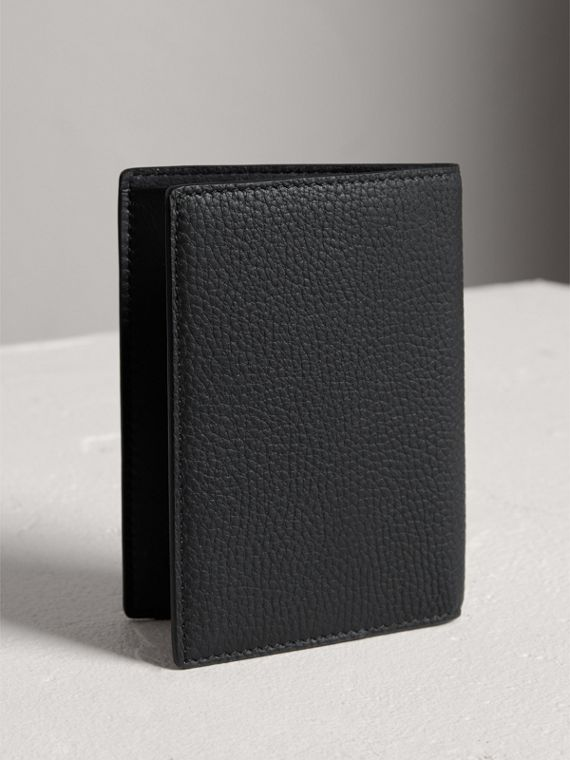 Embossed Leather Passport Holder in Black | Burberry - cell image 2