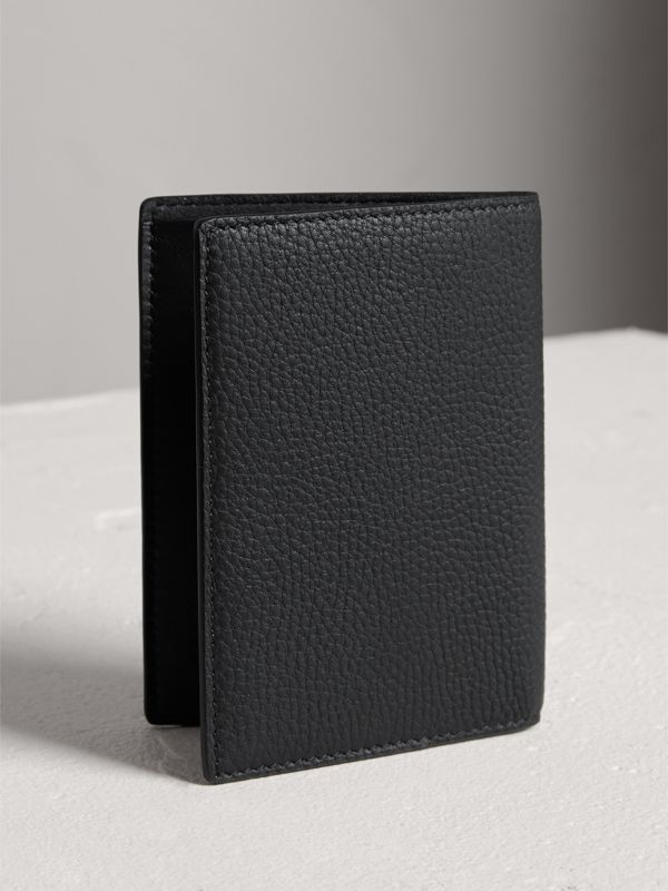 Embossed Leather Passport Holder in Black | Burberry Canada - cell image 2