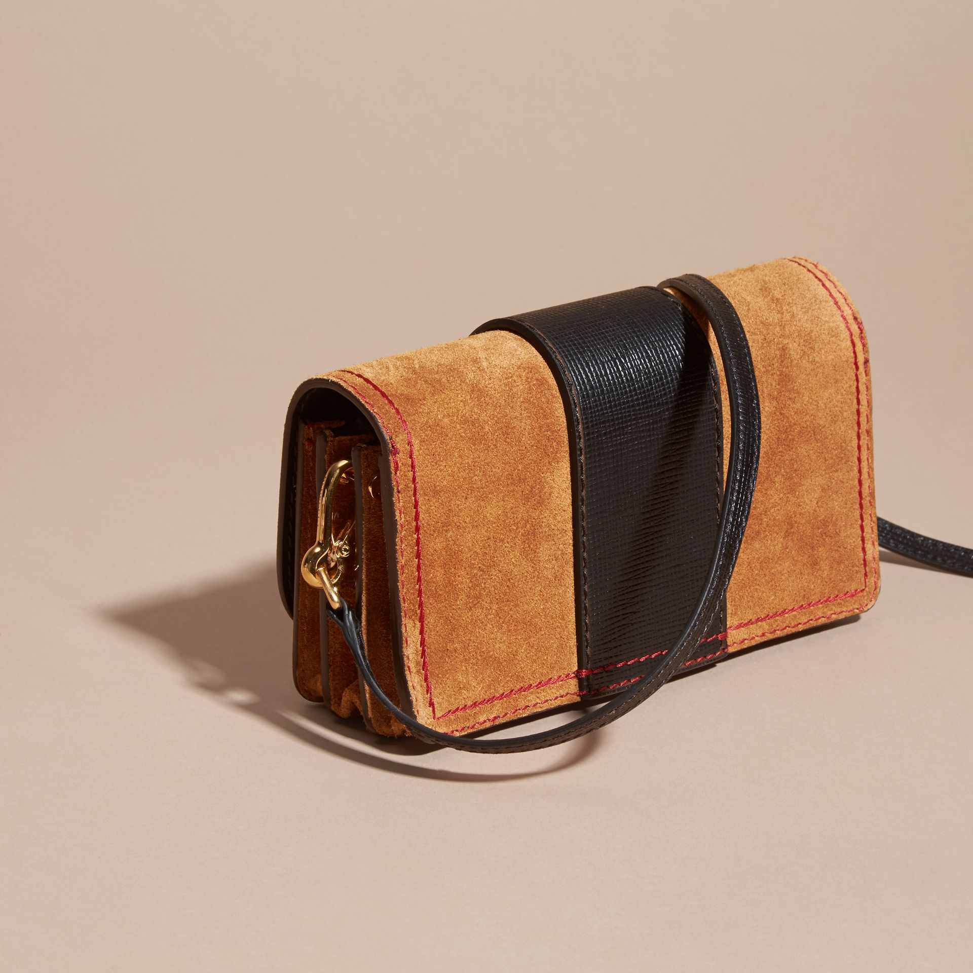 The Small Buckle Bag in Suede with Topstitching Bright Toffee/black - gallery image 5
