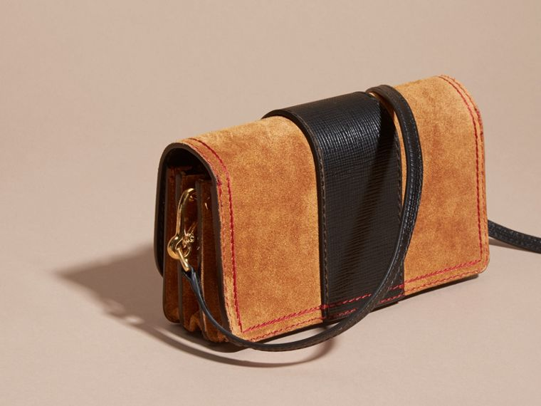 The Small Buckle Bag in Suede with Topstitching in Bright Toffee/black - cell image 4