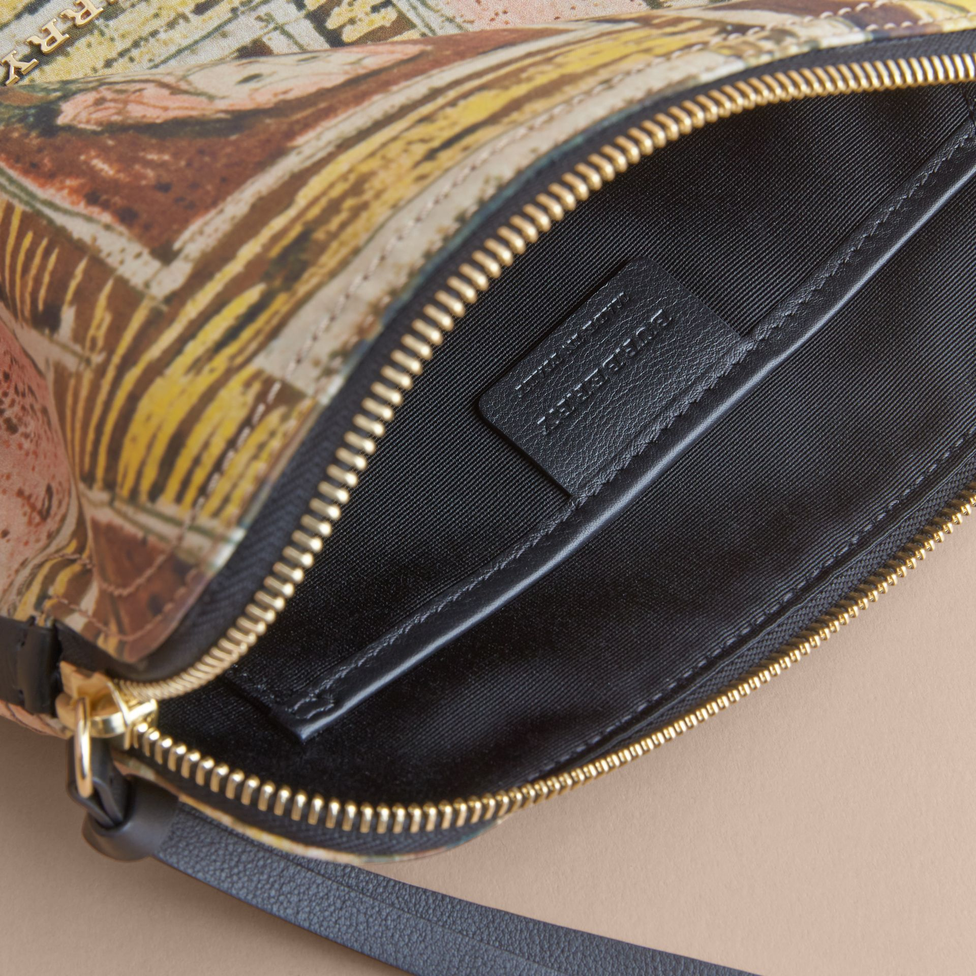 Large Zip-top Framed Heads Print Pouch in Umber Brown - Women | Burberry - gallery image 5