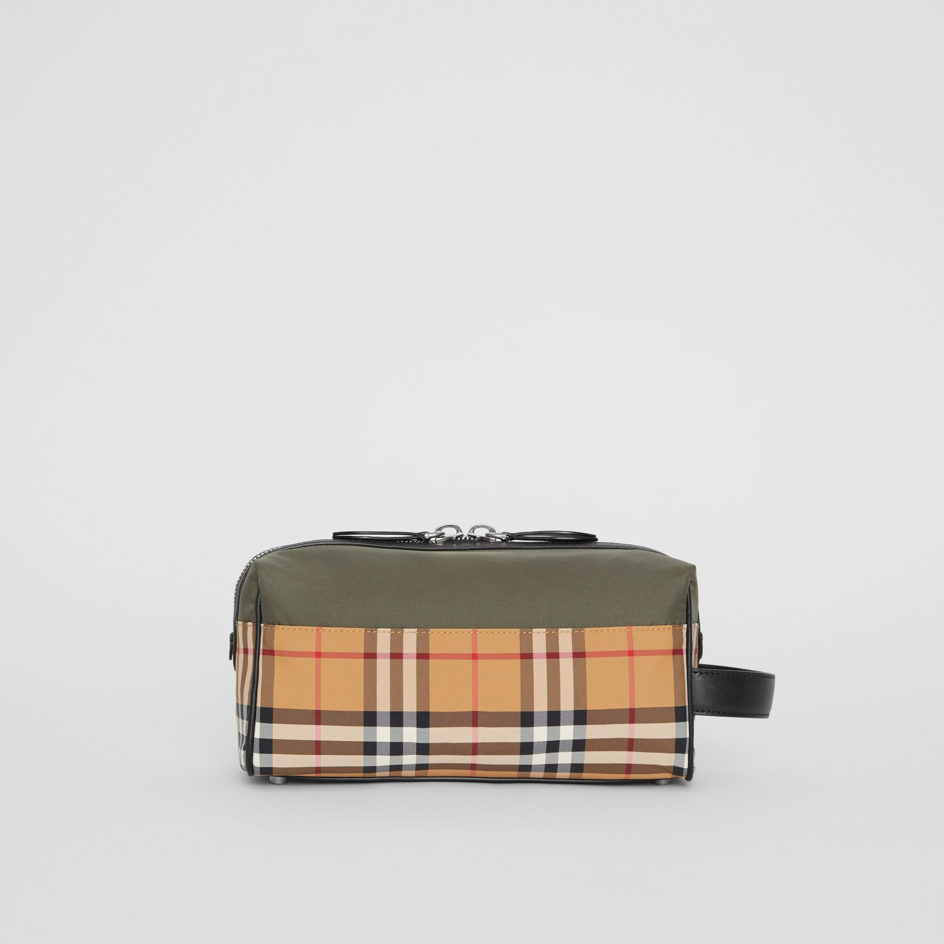 Vintage Check and Colour Block Pouch in Military Green/vintage | Burberry - gallery image 3