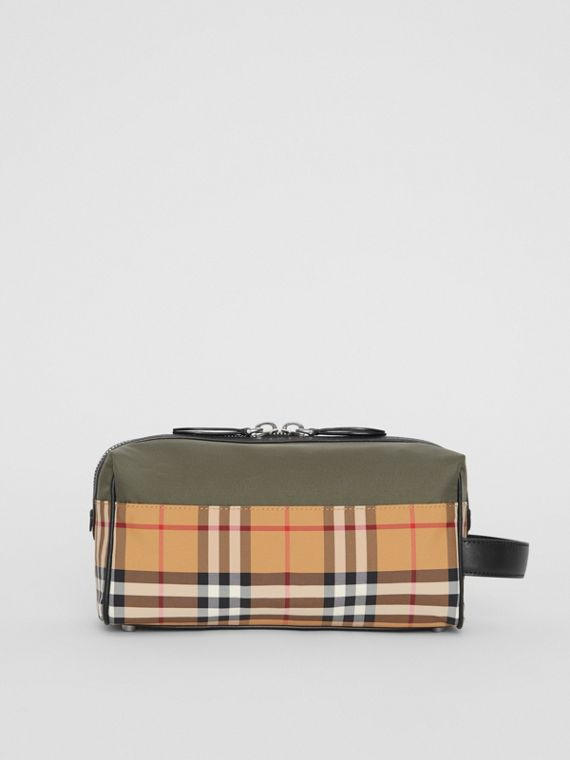 Vintage Check and Colour Block Pouch in Military Green/vintage