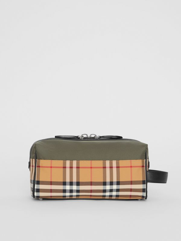 Vintage Check and Colour Block Pouch in Military Green/vintage | Burberry - cell image 3