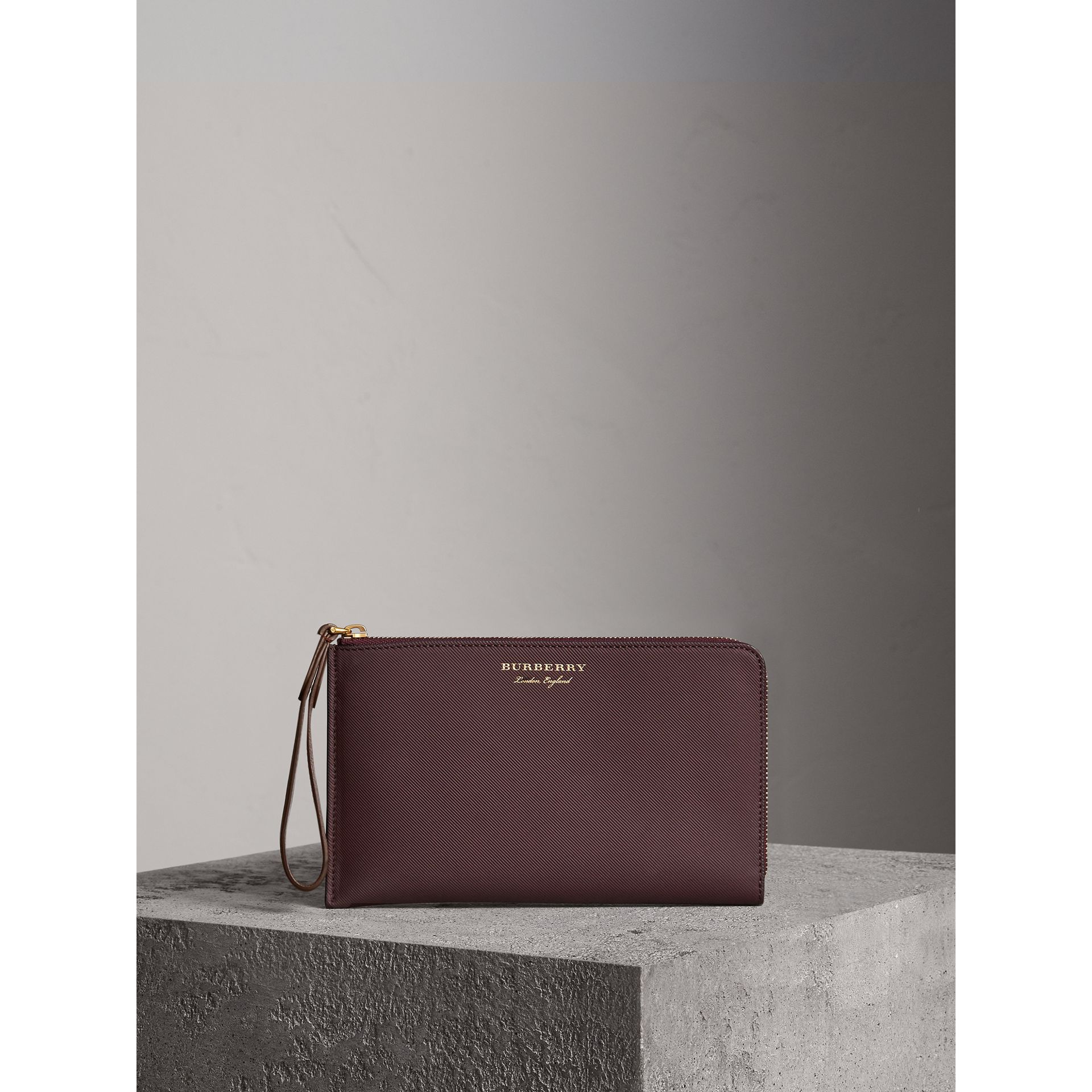 Two-tone Trench Leather Travel Wallet in Wine - Men | Burberry - gallery image 1