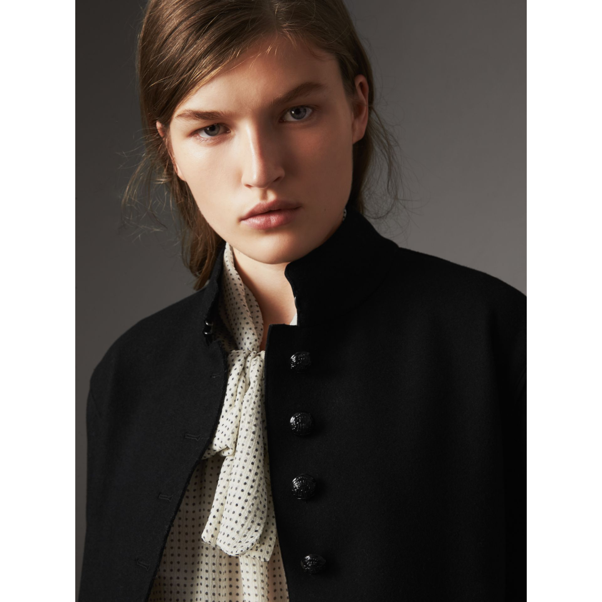 Wool Blend Military Jacket in Black - Women | Burberry - gallery image 2