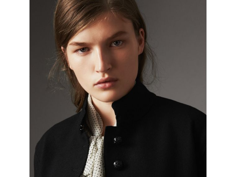 Wool Blend Military Jacket in Black - Women | Burberry United States - cell image 1