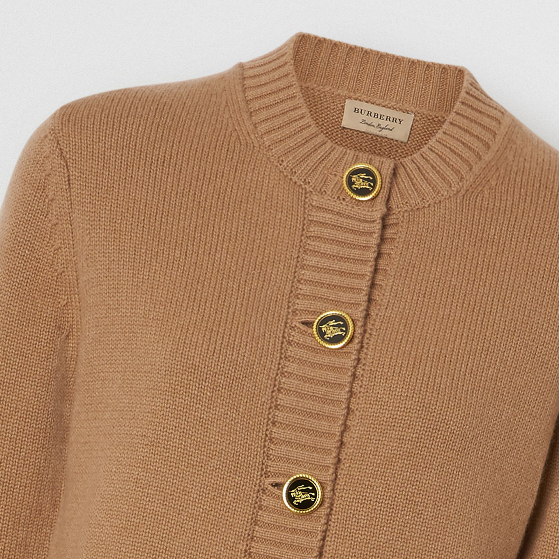 Logo Button Cashmere Crew Neck Cardigan in Camel - Women | Burberry - gallery image 1