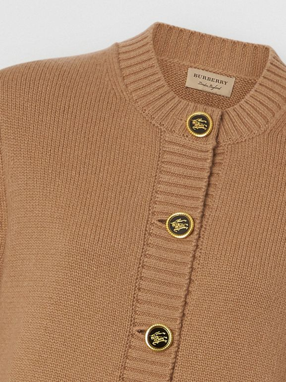 Logo Button Cashmere Crew Neck Cardigan in Camel - Women | Burberry - cell image 1