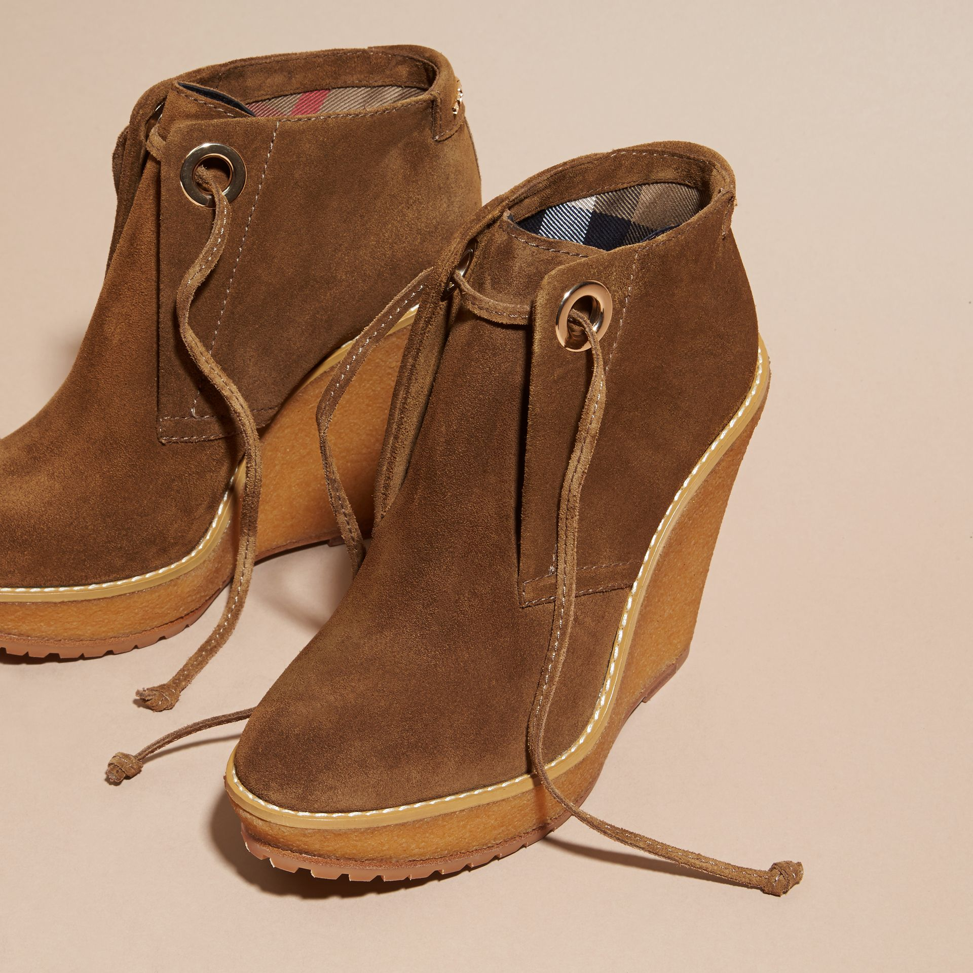 Light oak brown Suede Wedge Ankle Boots - gallery image 3