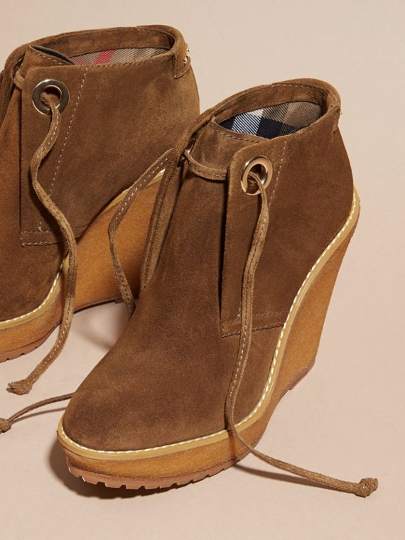 Light oak brown Suede Wedge Ankle Boots - cell image 2