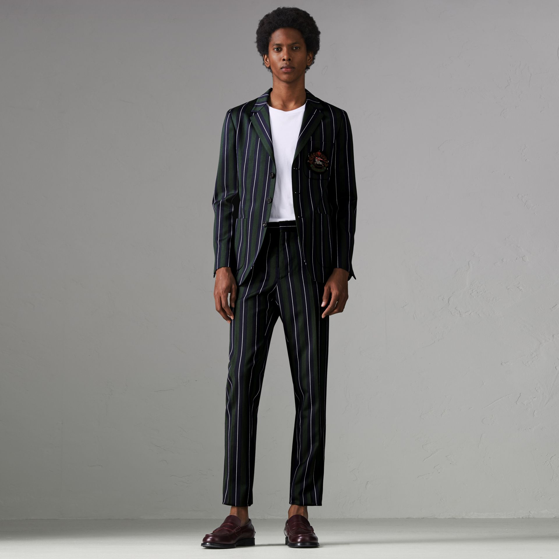 Striped Wool Cotton Tailored Trousers in Dark Forest Green - Men | Burberry Australia - gallery image 0