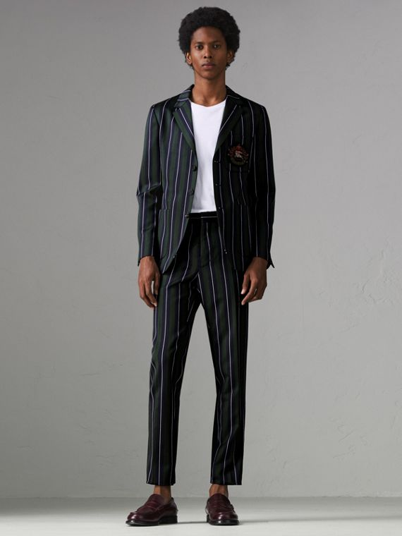 Striped Wool Cotton Tailored Trousers in Dark Forest Green