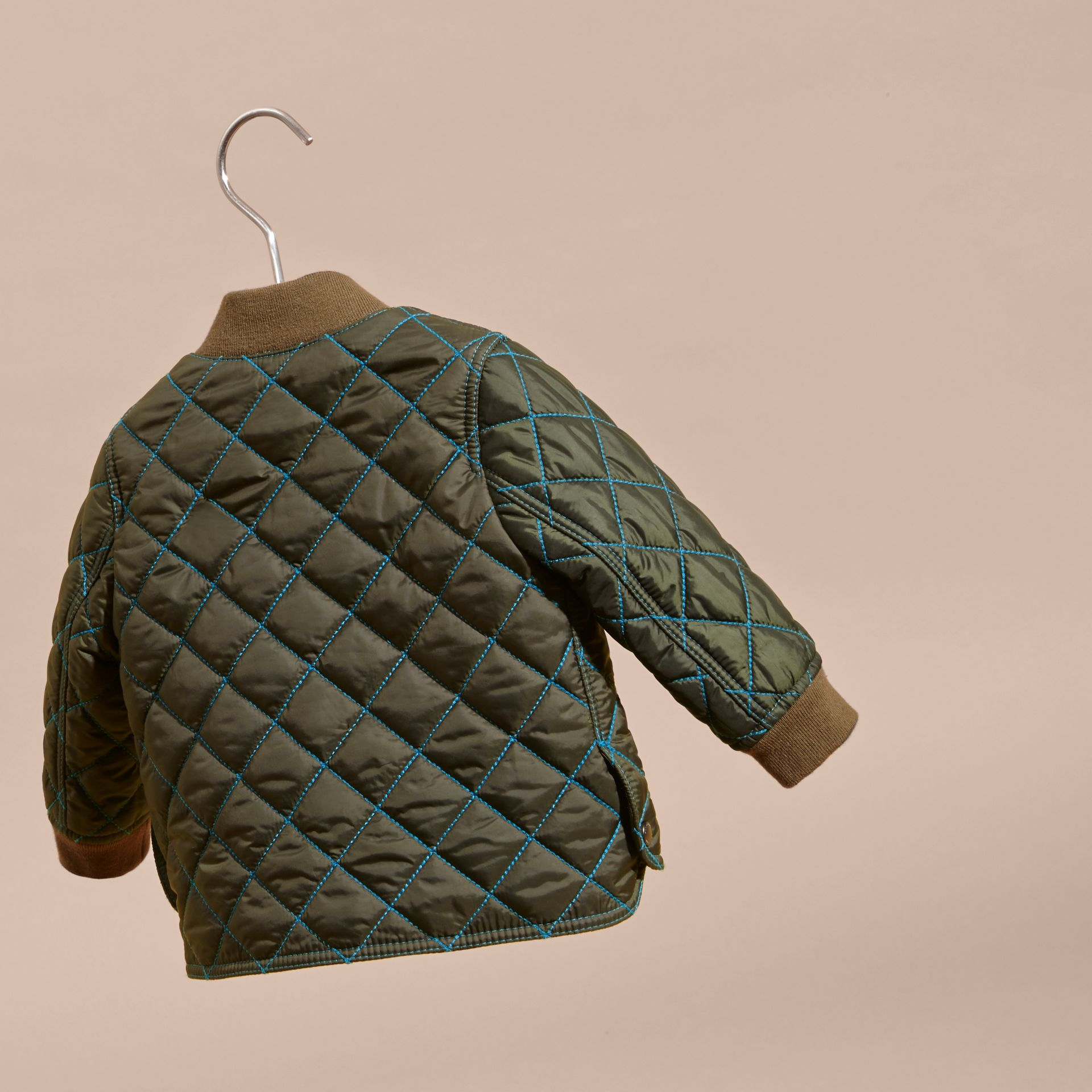 Olive green Contrast Topstitch Diamond Quilted Technical Jacket - gallery image 4