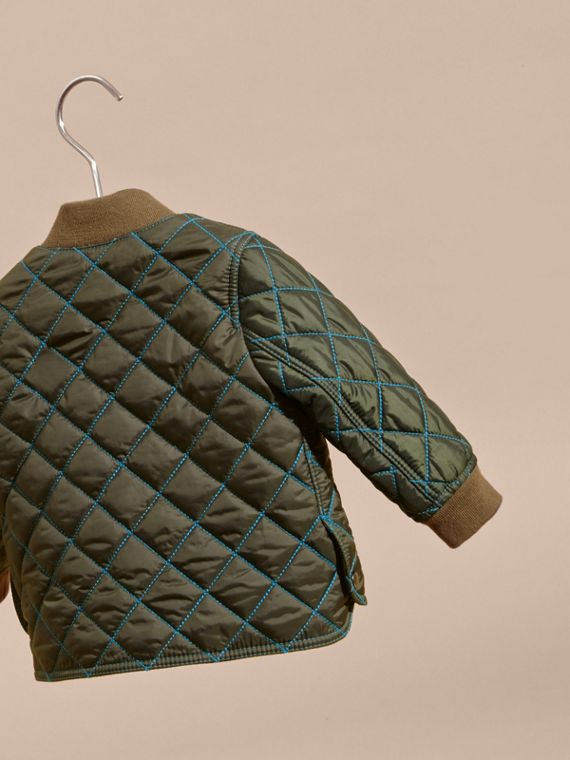 Olive green Contrast Topstitch Diamond Quilted Technical Jacket - cell image 3