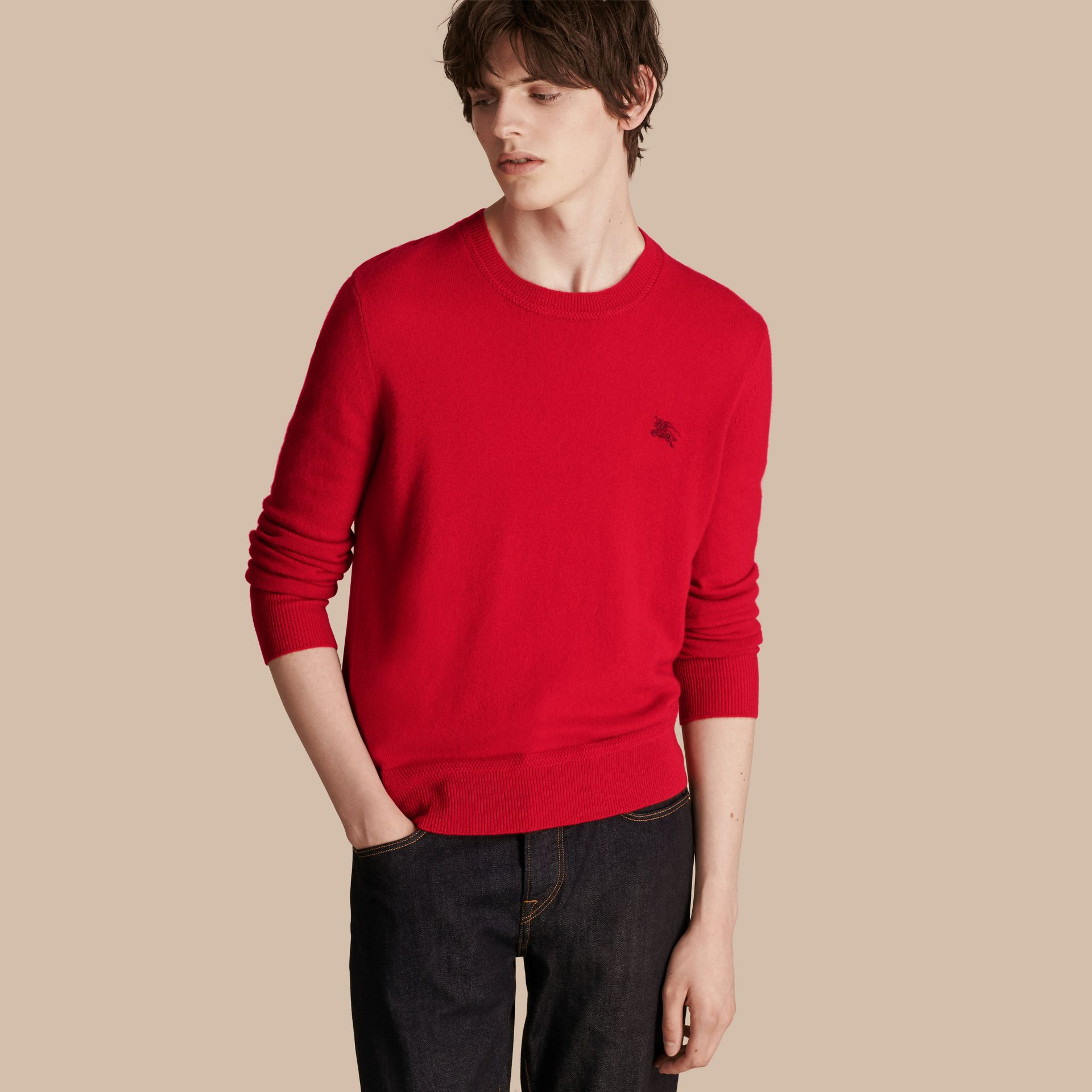 Crew Neck Cashmere Sweater in Military Red - Men | Burberry - gallery image 1