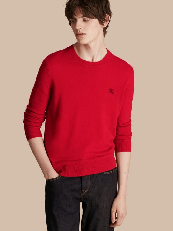 Crew Neck Cashmere Sweater in Military Red