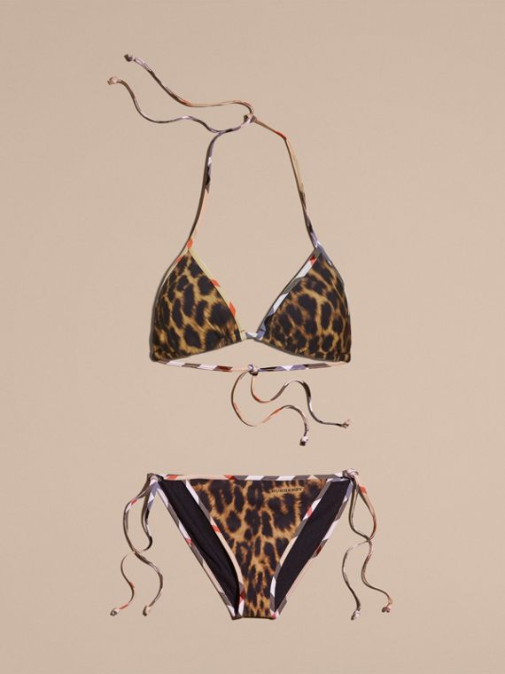 Animal Print Triangle Bikini with Check Trim
