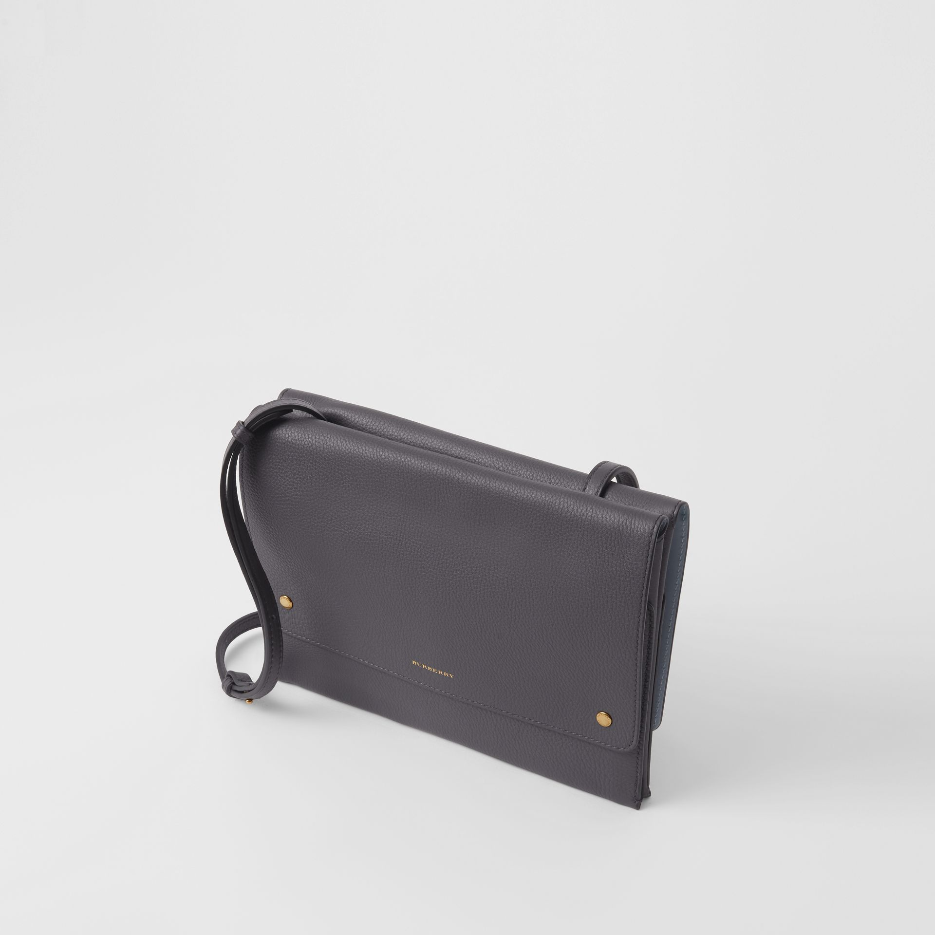 Leather Envelope Crossbody Bag in Charcoal Grey - Women | Burberry Australia - gallery image 2