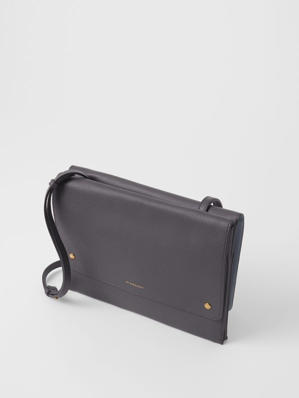 Leather Pouch with Detachable Strap in Charcoal Grey - Women | Burberry Canada - cell image 2