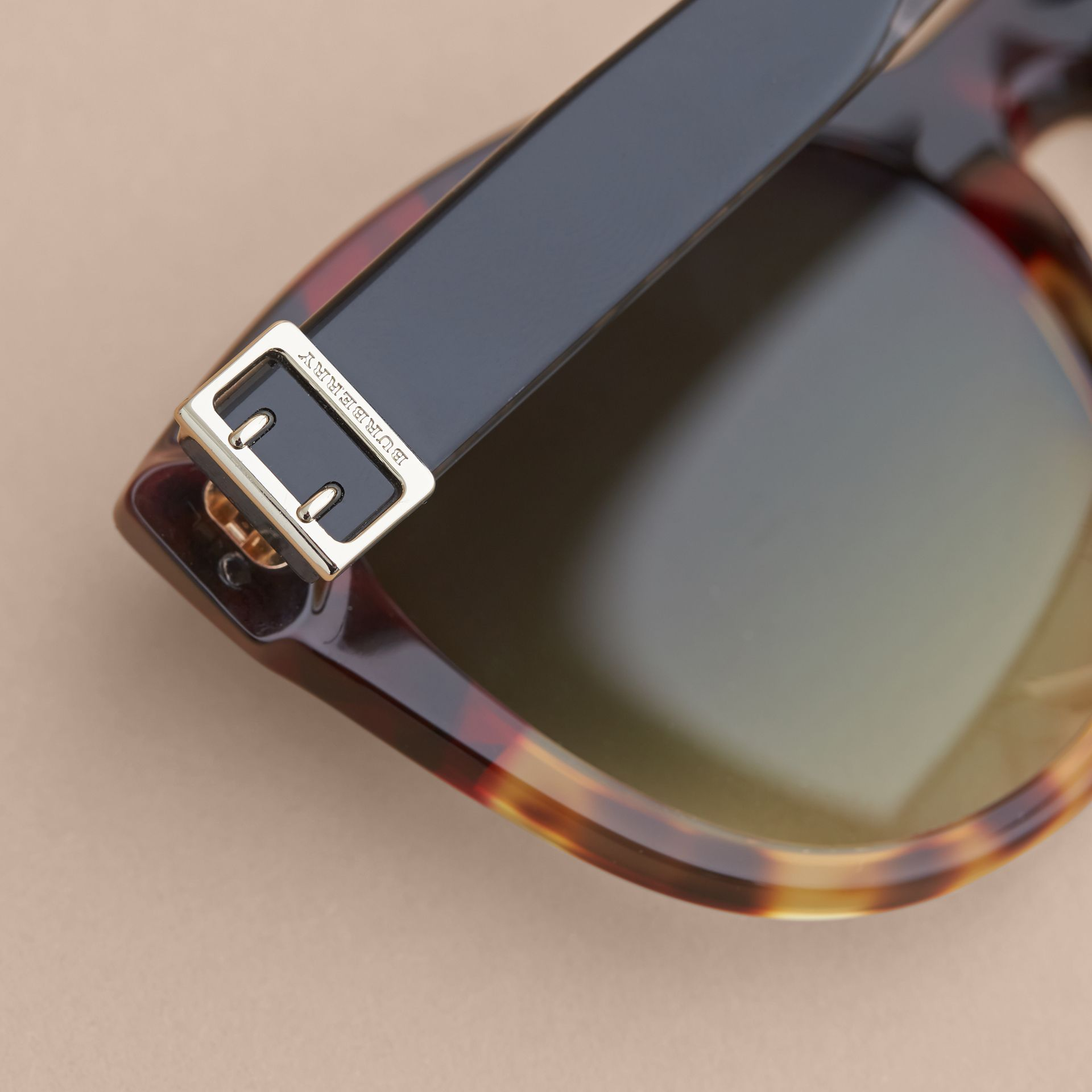Buckle Detail Cat-eye Frame Sunglasses in Amber Yellow - Women | Burberry United Kingdom - gallery image 1