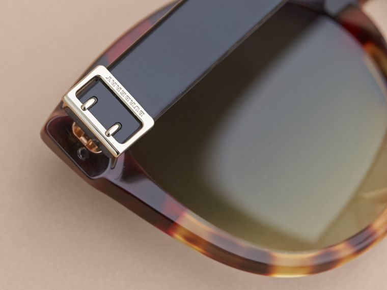 Buckle Detail Cat-eye Frame Sunglasses in Amber Yellow - Women | Burberry United Kingdom - cell image 1