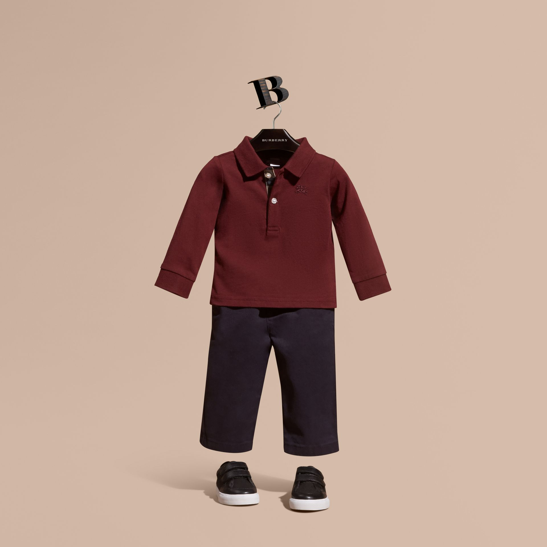 Burgundy red Check Trim Long-sleeved Cotton Polo Shirt Burgundy Red - gallery image 1