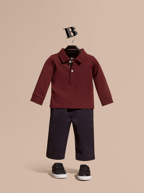 Check Trim Long-sleeved Cotton Polo Shirt Burgundy Red