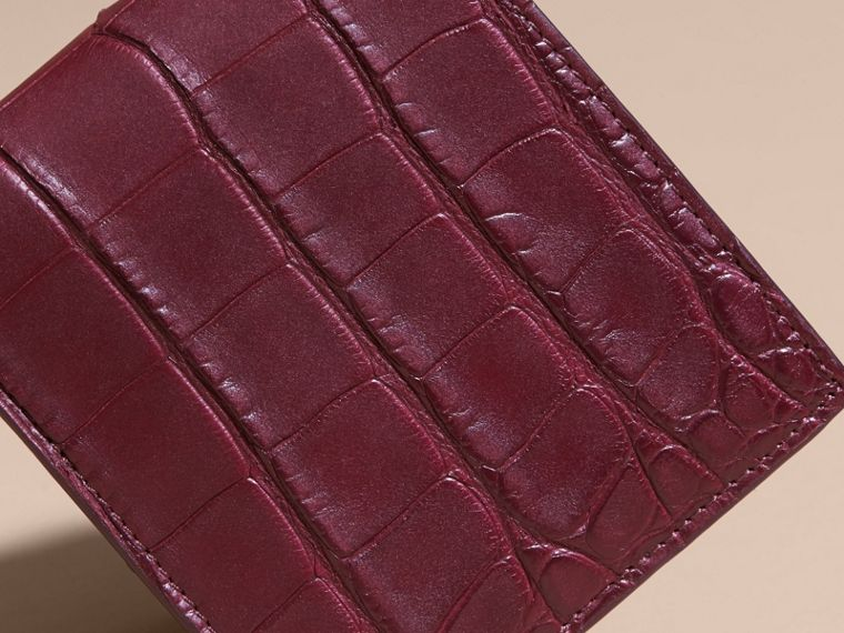 Deep claret Alligator and Leather Folding Wallet - cell image 1