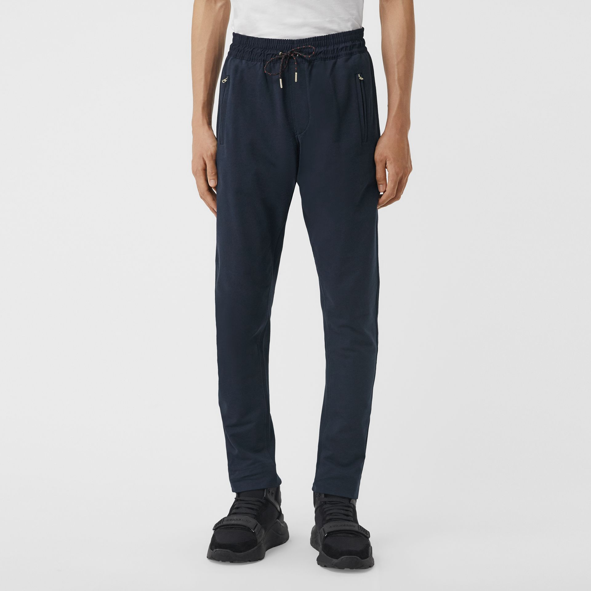 Cotton Sweatpants in Navy - Men | Burberry United Kingdom - gallery image 4