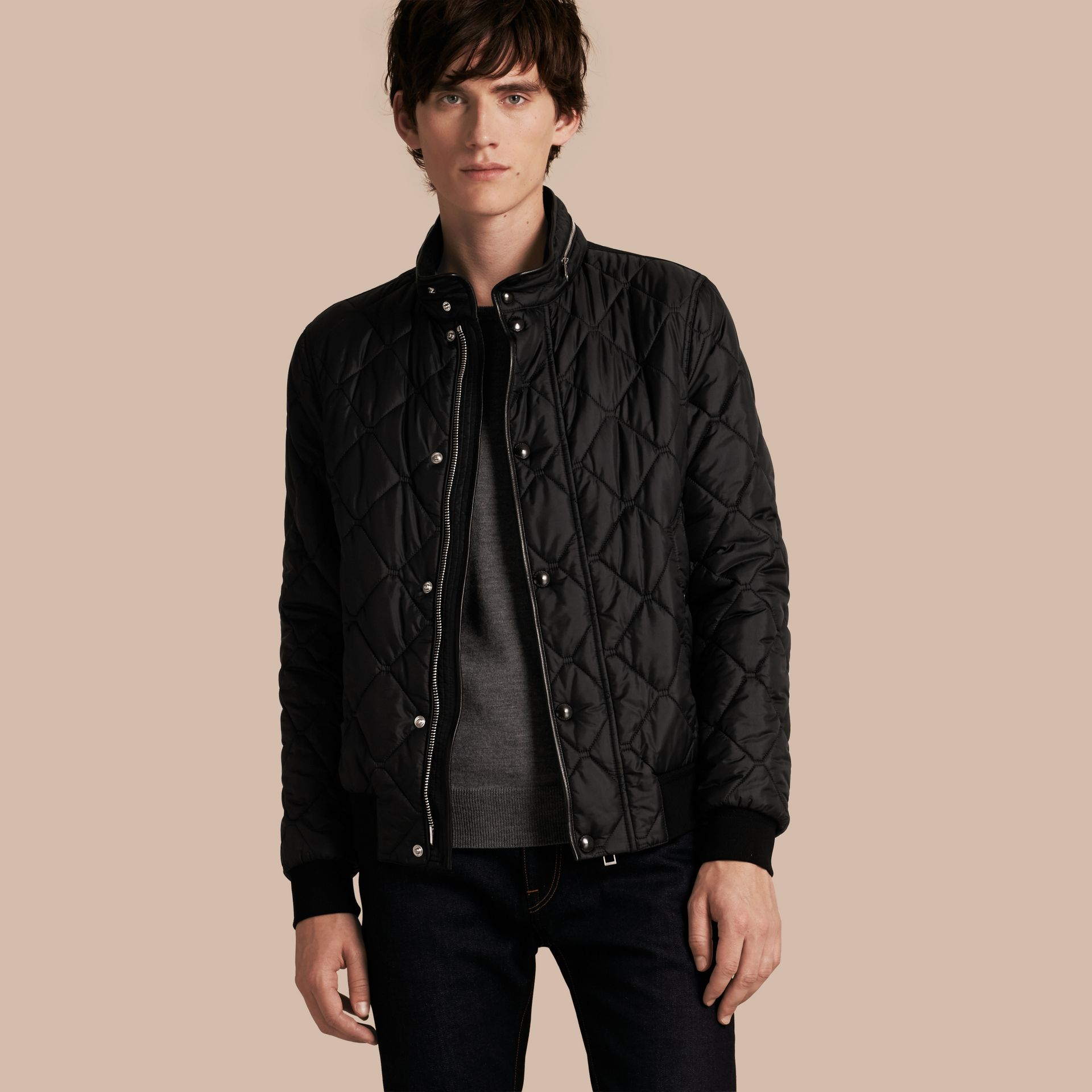 Black Quilted Packaway Hood Jacket - gallery image 1