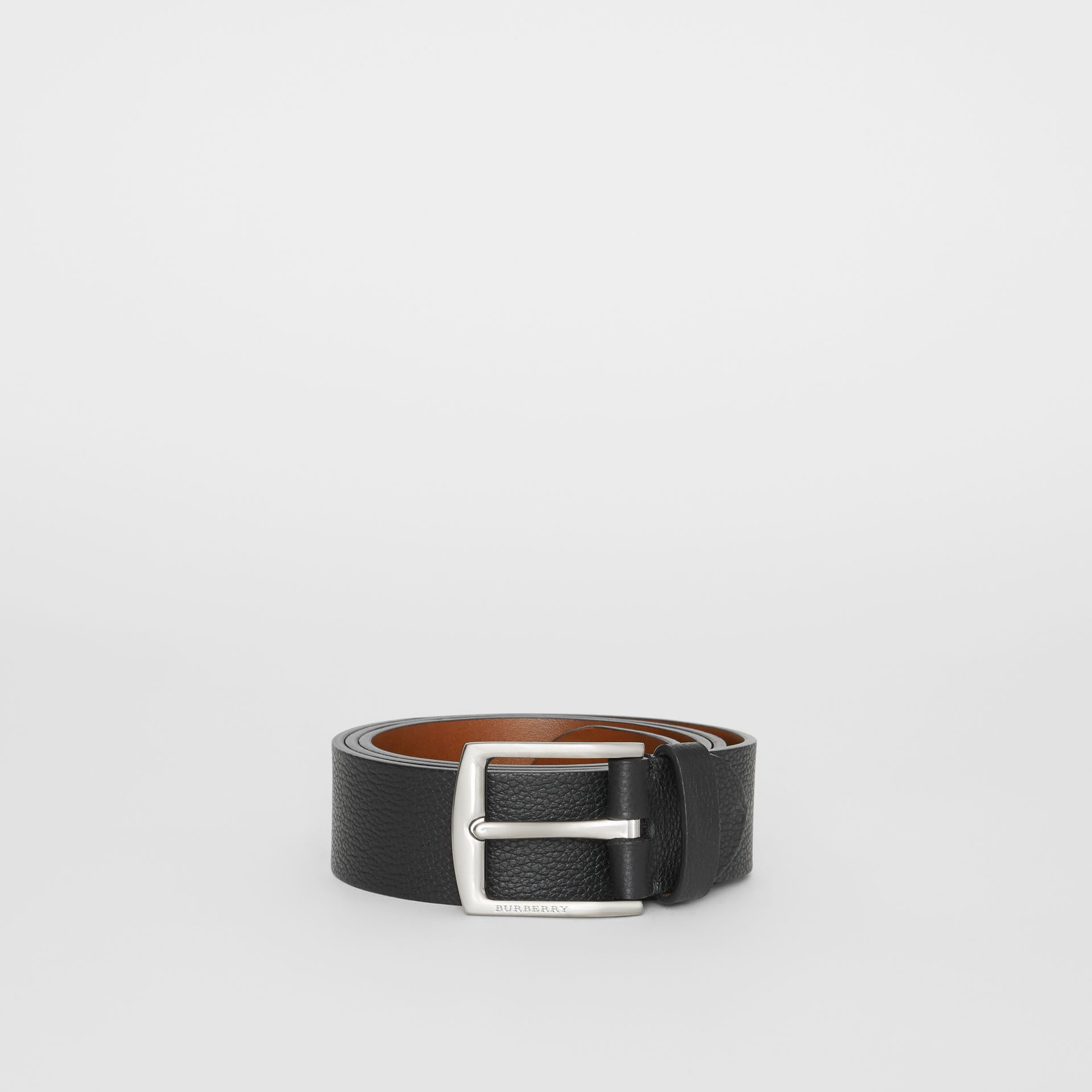 Grainy Leather Belt in Black - Men | Burberry Australia - gallery image 3