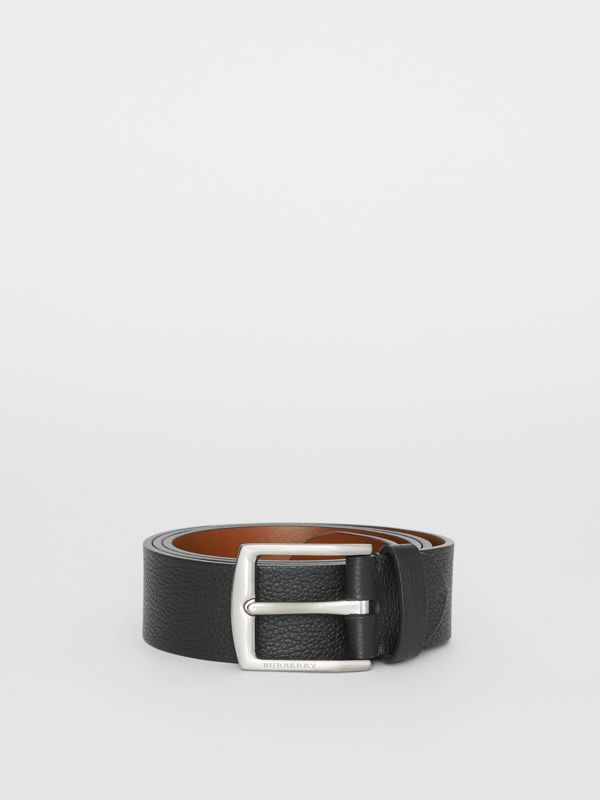 Grainy Leather Belt in Black - Men | Burberry Australia - cell image 3