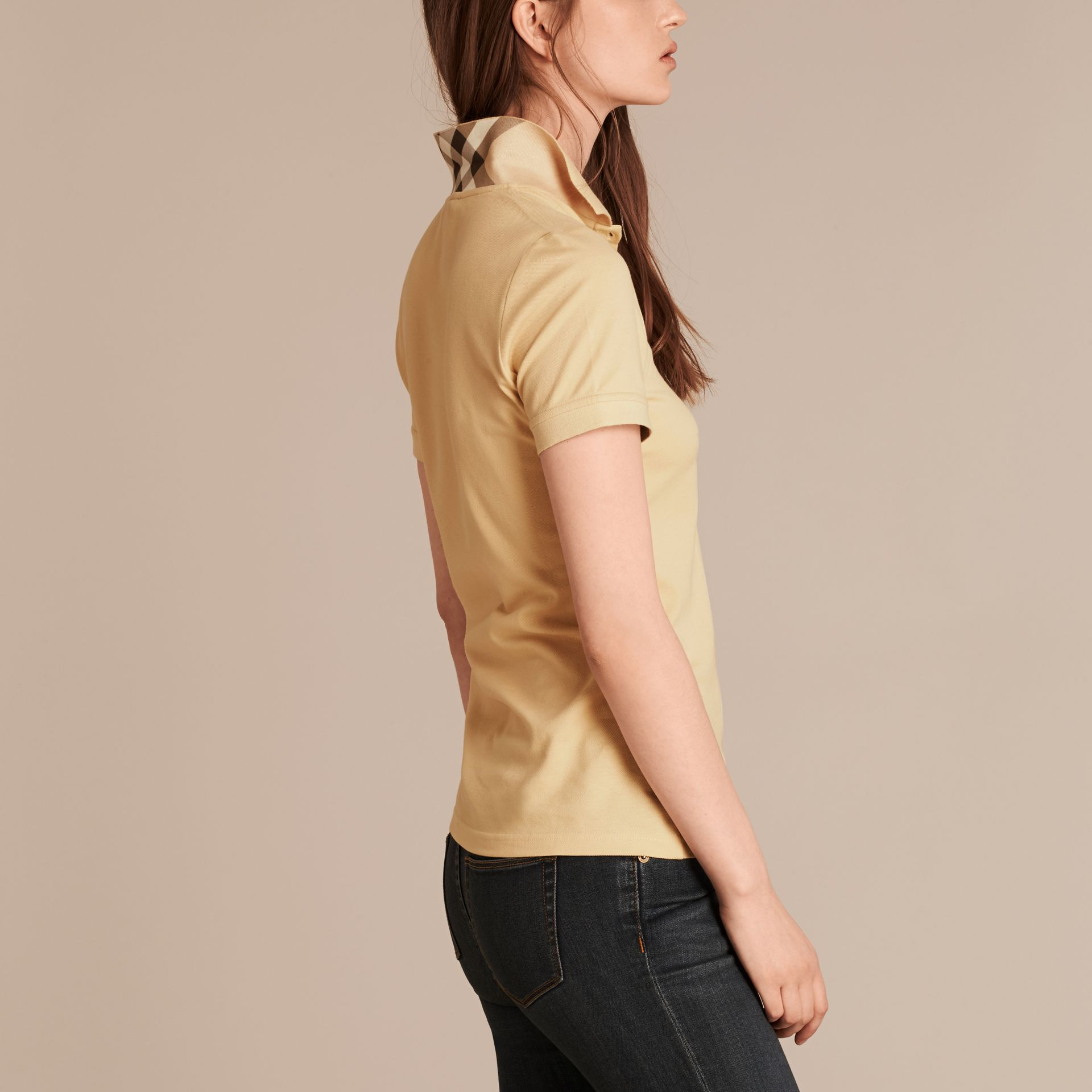 Pale lemon Check Trim Stretch Cotton Piqué Polo Shirt Pale Lemon - gallery image 3