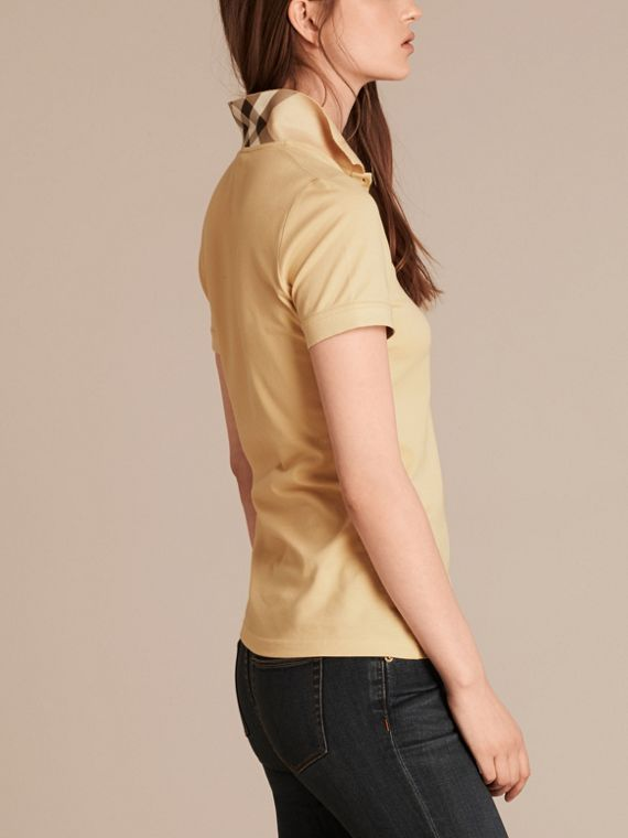 Pale lemon Check Trim Stretch Cotton Piqué Polo Shirt Pale Lemon - cell image 2
