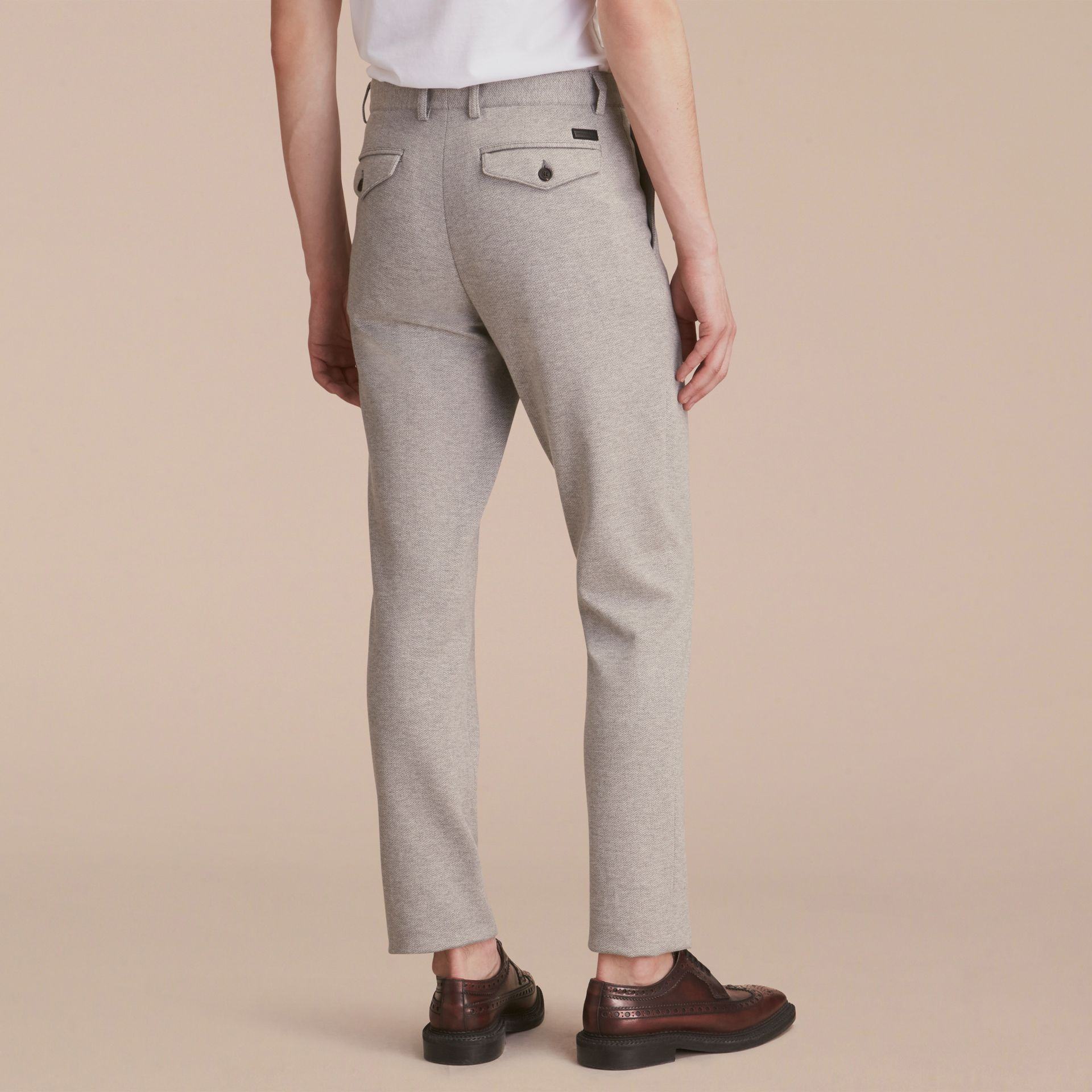 Slim Fit Herringbone Cotton Blend Jersey Trousers - gallery image 3