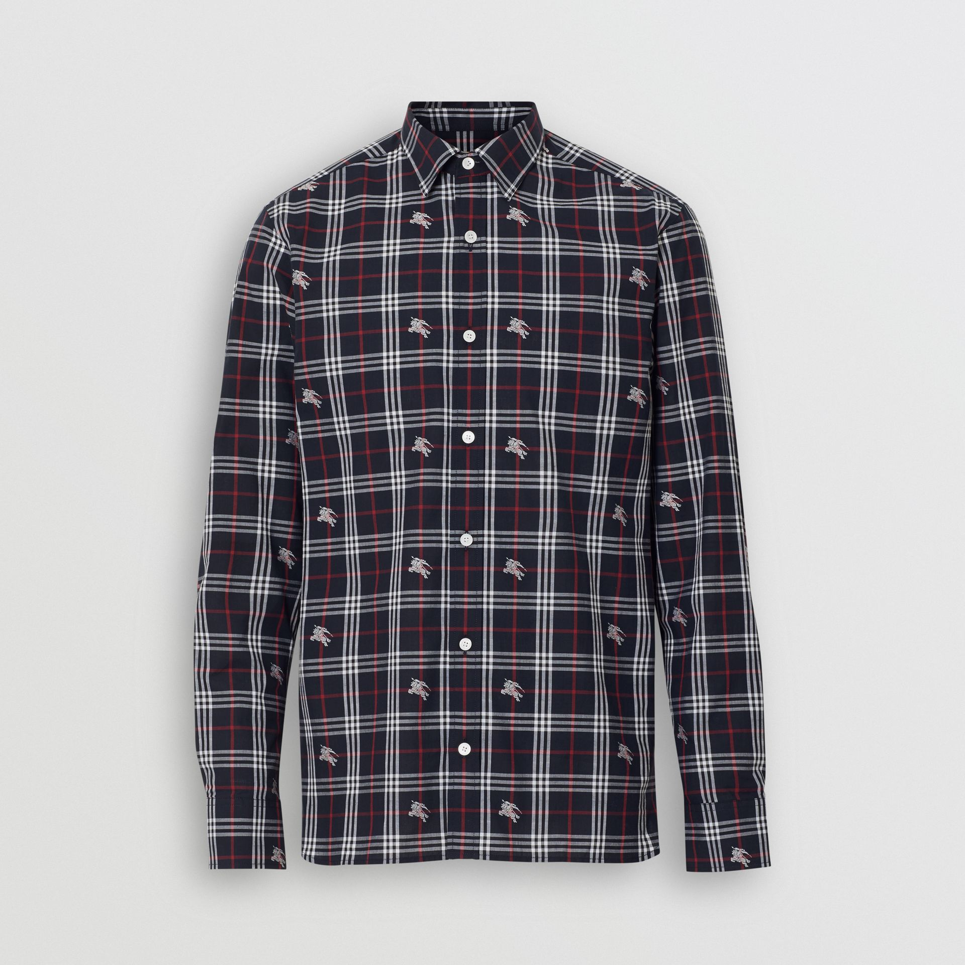 Equestrian Knight Check Cotton Shirt in Dark Navy - Men | Burberry Singapore - gallery image 3