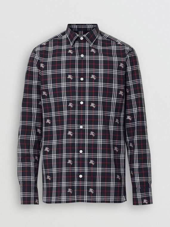 Equestrian Knight Check Cotton Shirt in Dark Navy