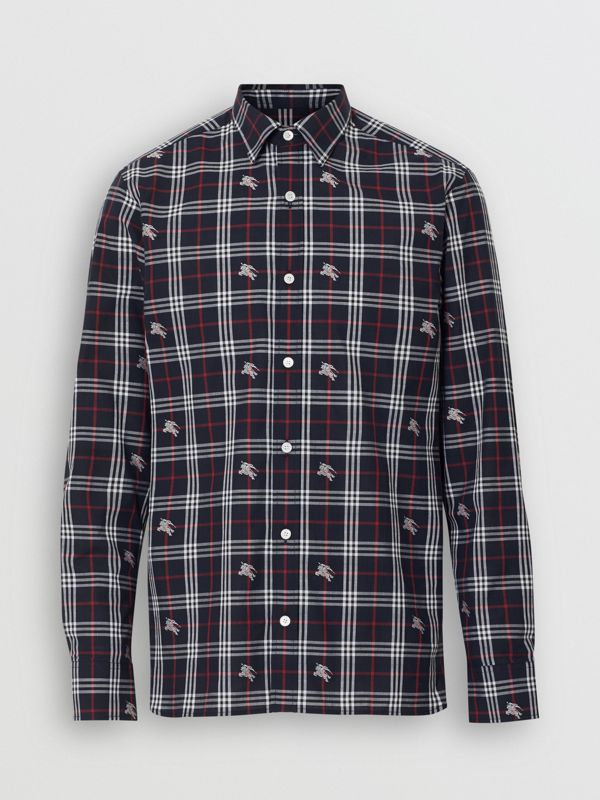 Equestrian Knight Check Cotton Shirt in Dark Navy - Men | Burberry - cell image 3
