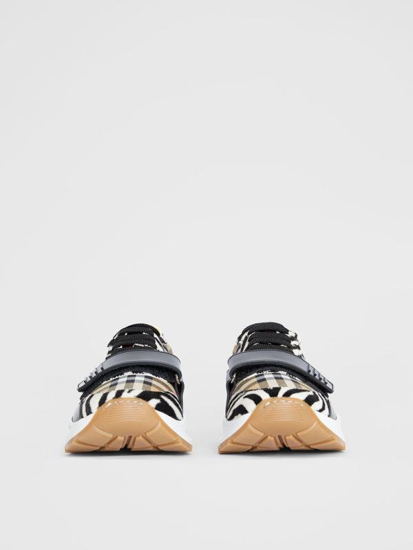 Animal Print and Vintage Check Sneakers in Antique Yellow - Women | Burberry Hong Kong S.A.R - cell image 3