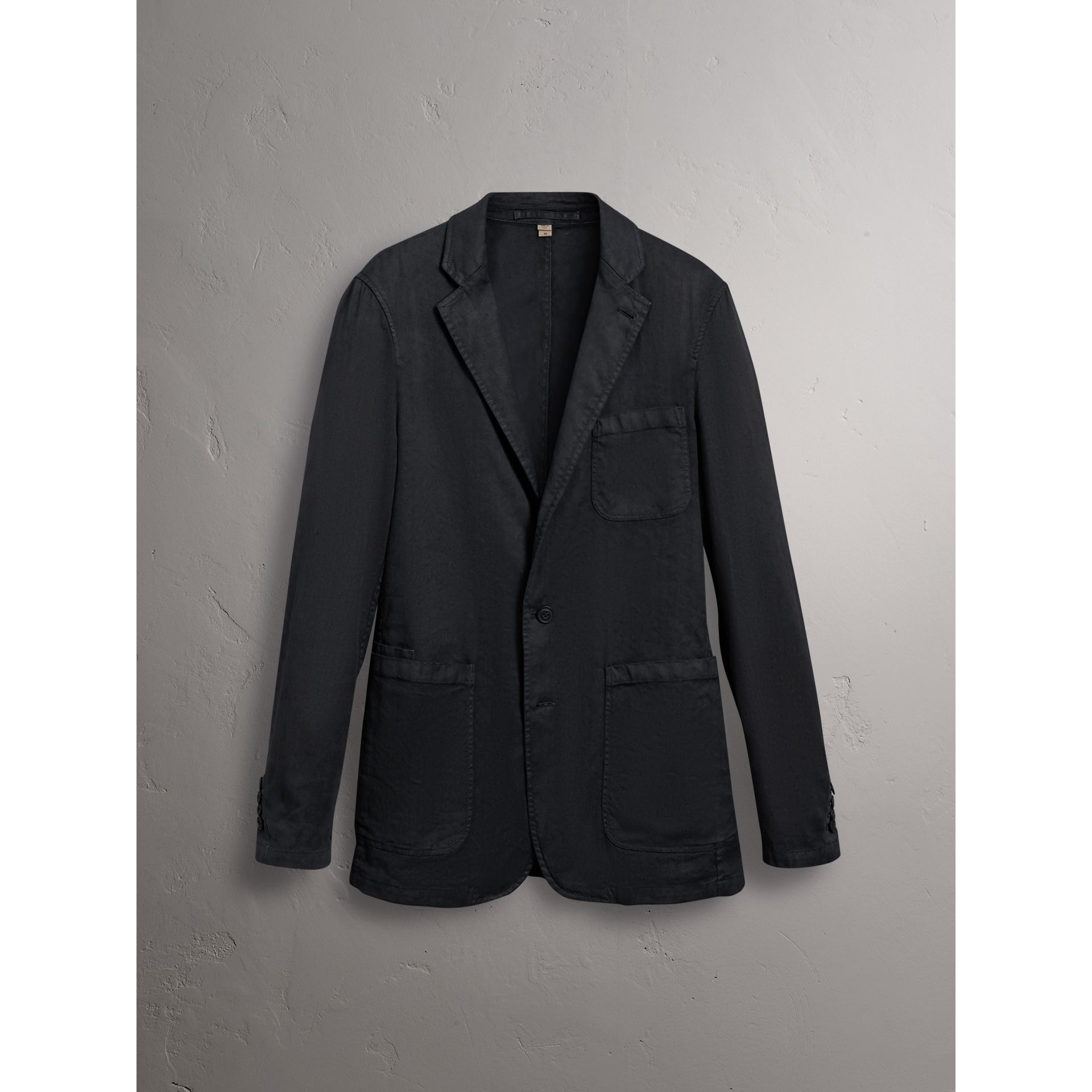 Slim Fit Linen Cotton Tailored Jacket in Dark Charcoal - Men | Burberry - gallery image 4