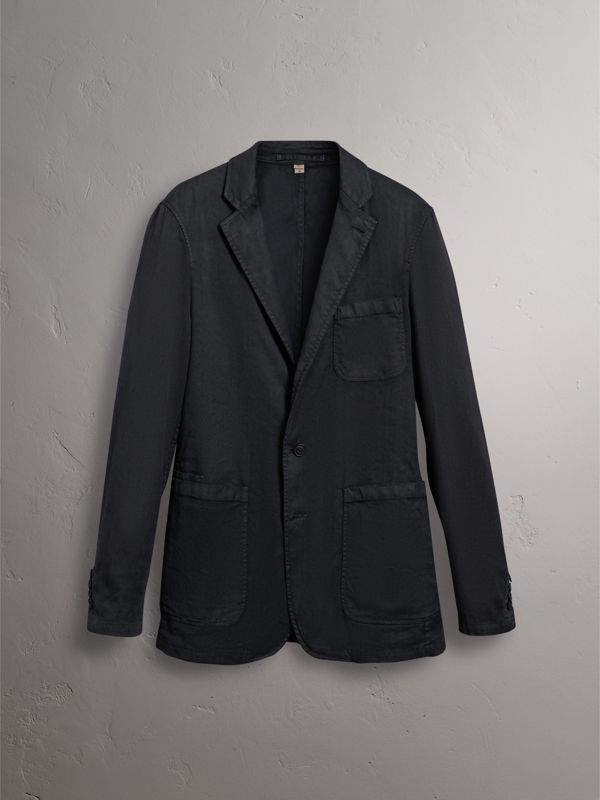 Slim Fit Linen Cotton Tailored Jacket in Dark Charcoal - Men | Burberry - cell image 3