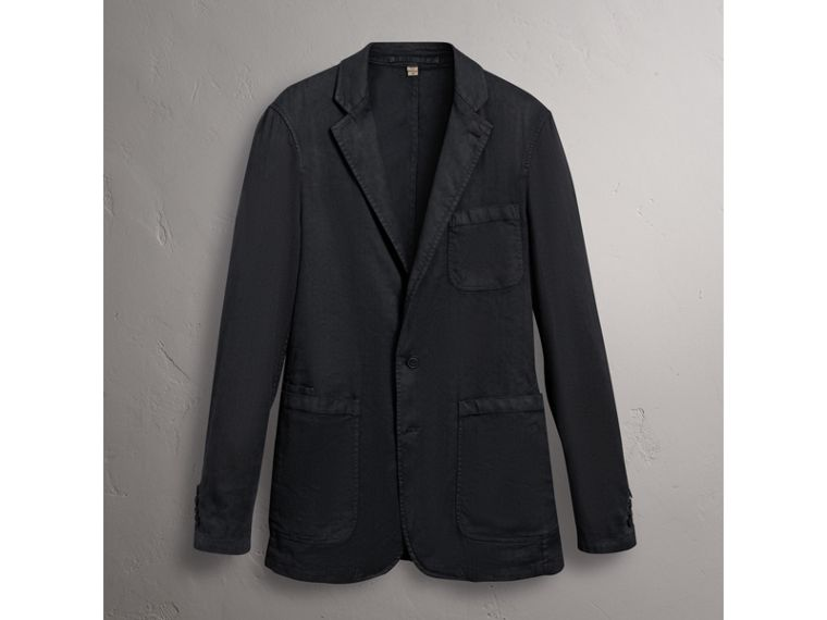 Slim Fit Linen Cotton Tailored Jacket in Dark Charcoal - Men | Burberry - cell image 4