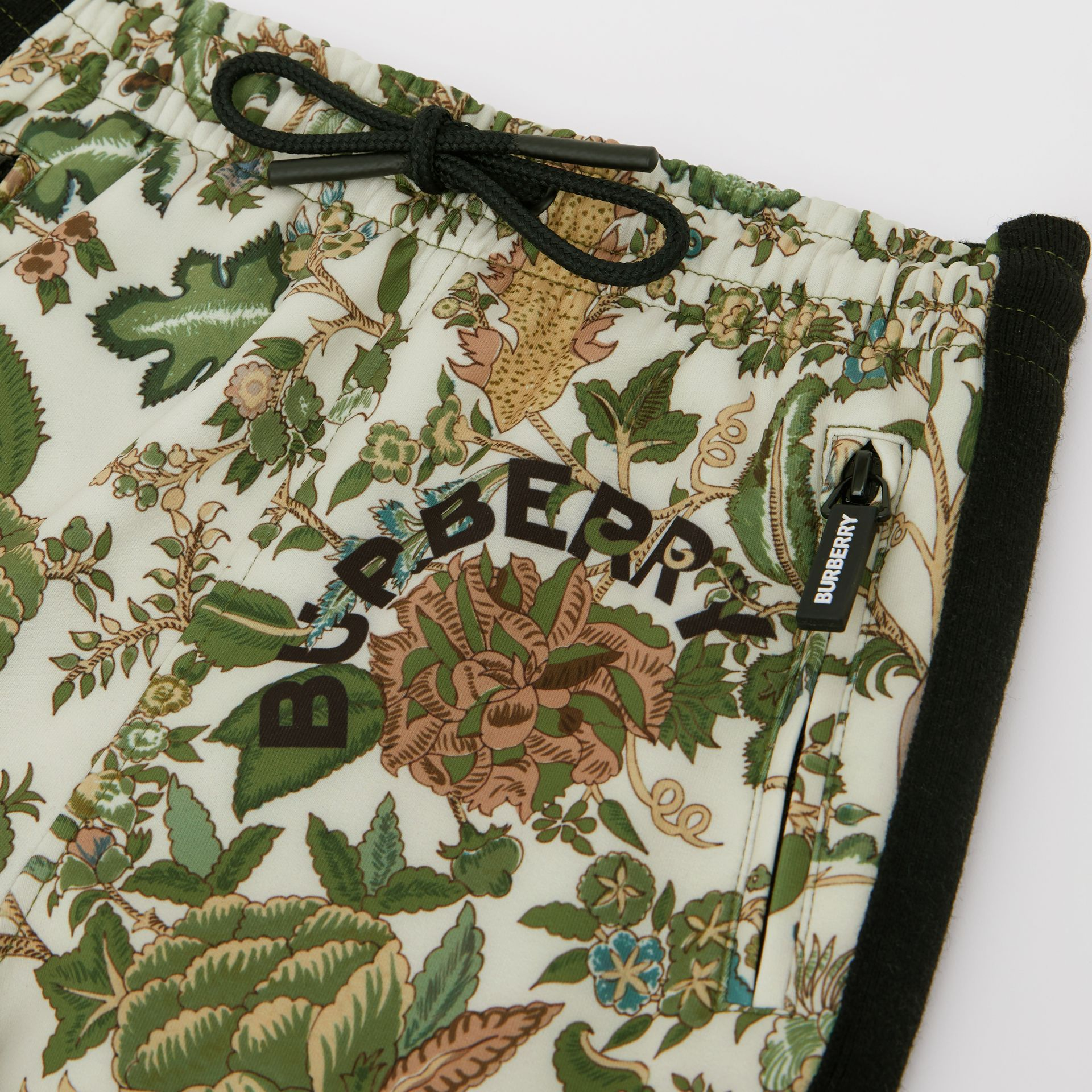 Botanical Print Neoprene Trackpants in Olive | Burberry Australia - gallery image 1