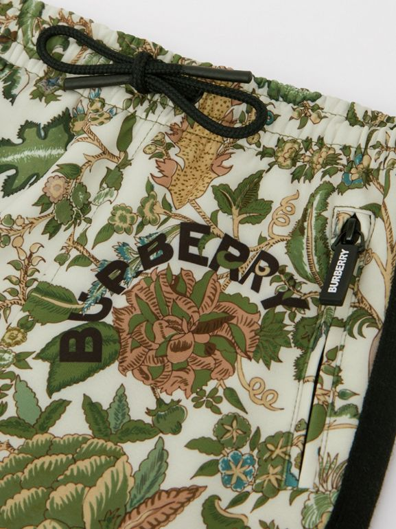 Botanical Print Neoprene Trackpants in Olive | Burberry Australia - cell image 1