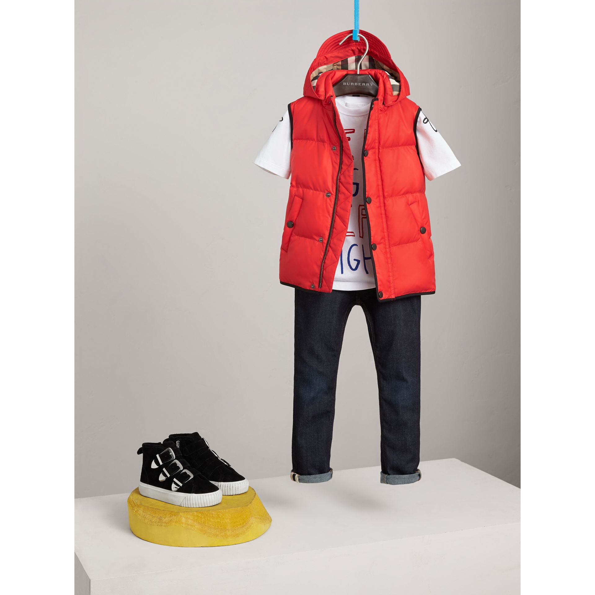 Down-filled Hooded Gilet in Bright Orange Red - Boy | Burberry Singapore - gallery image 1