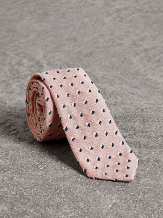 Slim Cut Chenille Dot Cotton Silk Tie in Pink Apricot