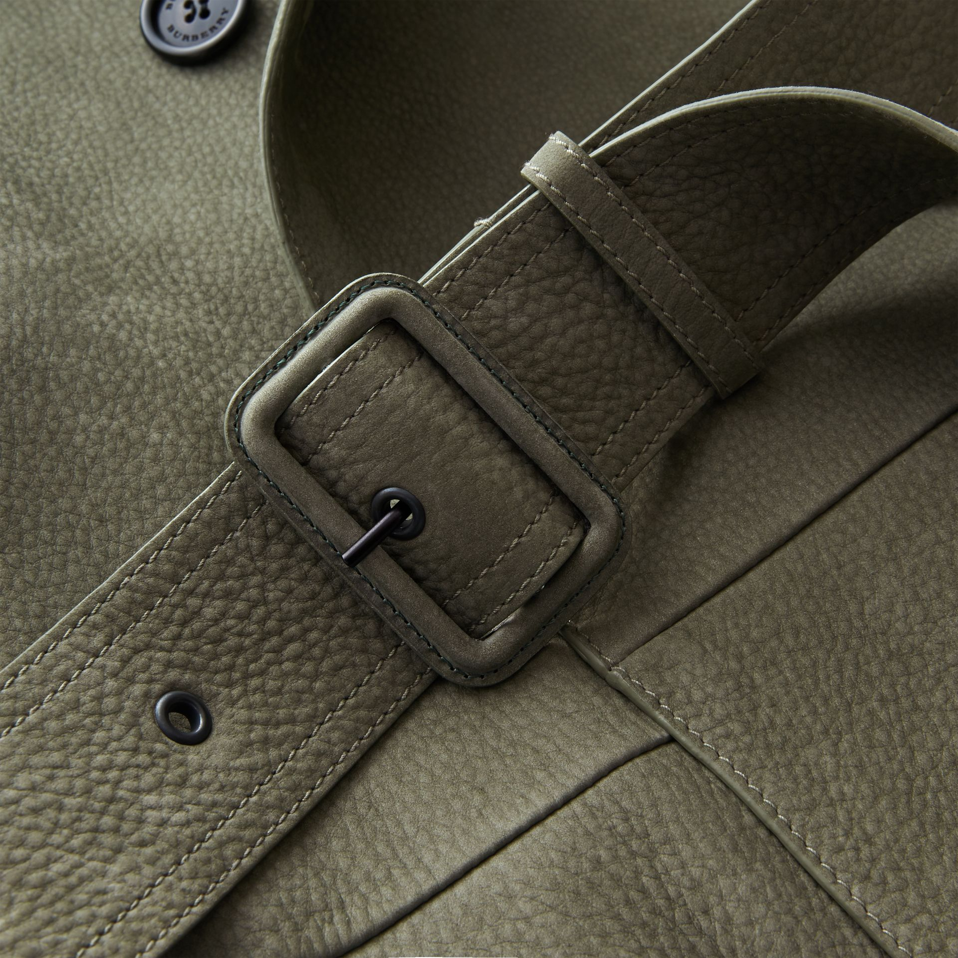 Lightweight Grainy Nubuck Trench Coat in Khaki Green - Men | Burberry - gallery image 2